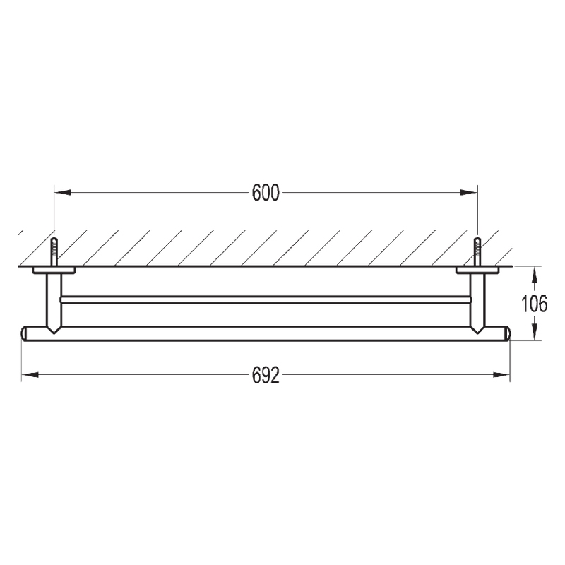Flova Coco Double Bar Towel Rail 688mm