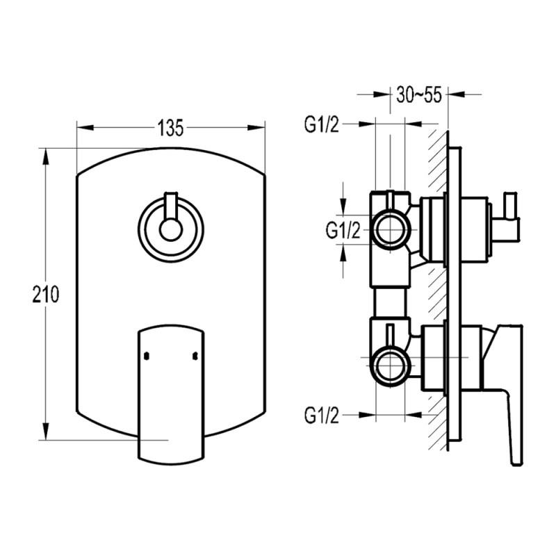 Flova Dekka Concealed Manual Shower Mixer with 3-Way Diverter