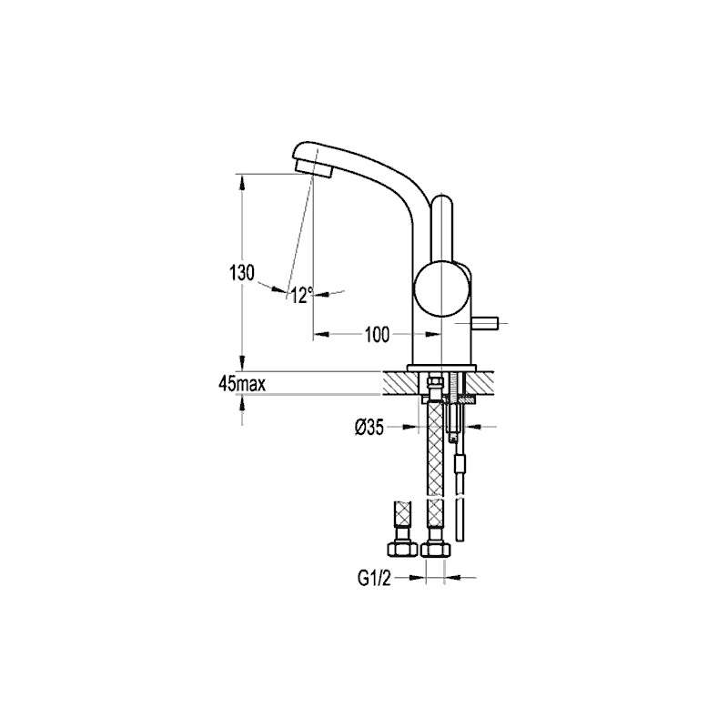 Flova Essence Single Lever Basin Mixer with Clicker Waste