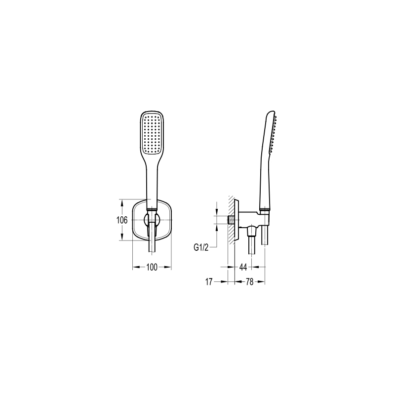 Flova Fusion Handshower Kit with Wall Outlet & Hose