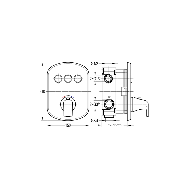 Flova Fusion Thermostatic Concealed 3 Button GoClick Shower Valve