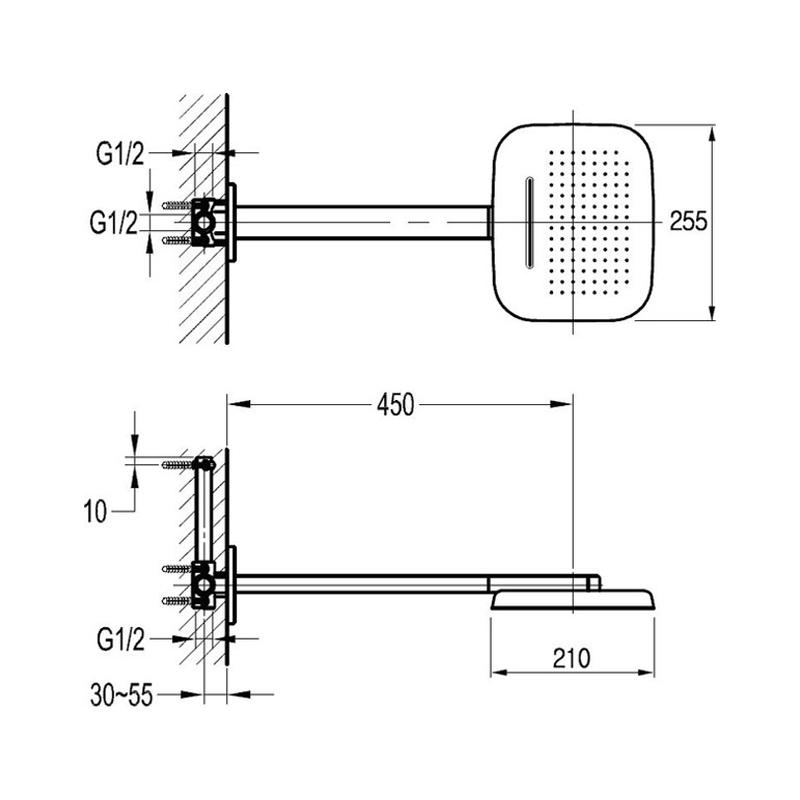 Flova Urban Brass Dual Function Air-In Rain/Waterfall Shower