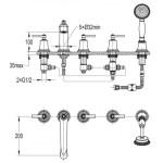 Flova Liberty 5-Hole Deck Mounted Bath Shower Mixer Chrome