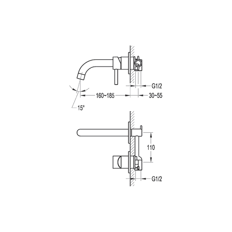 Flova Levo Wall Mounted Single Lever Basin Mixer with Spout