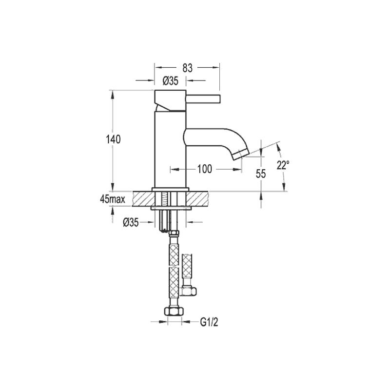 Flova Levo Cloakroom Single Lever Basin Mixer with Clicker Waste
