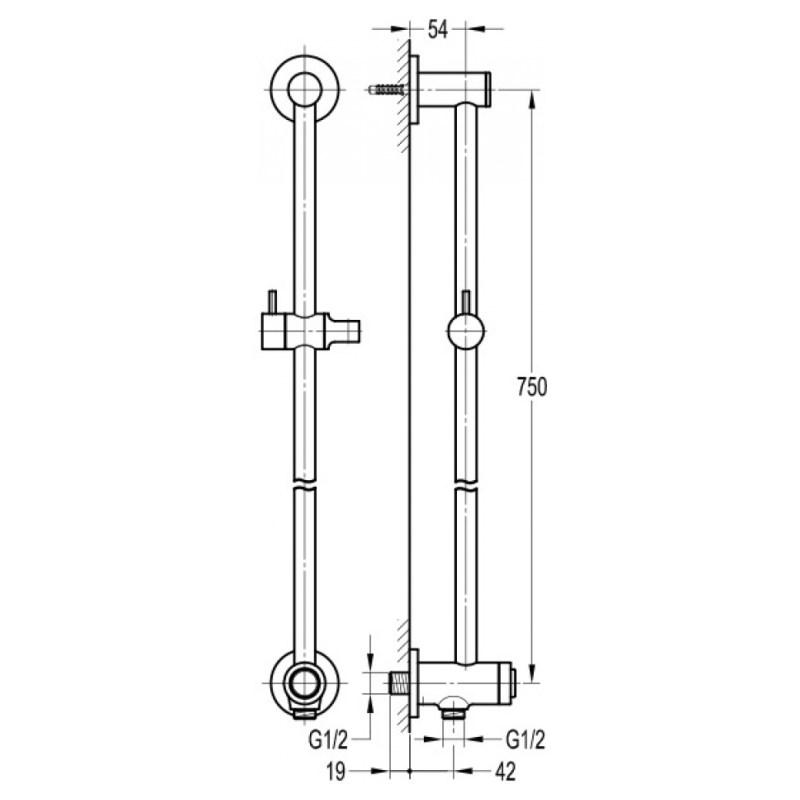 Flova Round Slide Rail Kit with GoClick Control & Integral Outlet