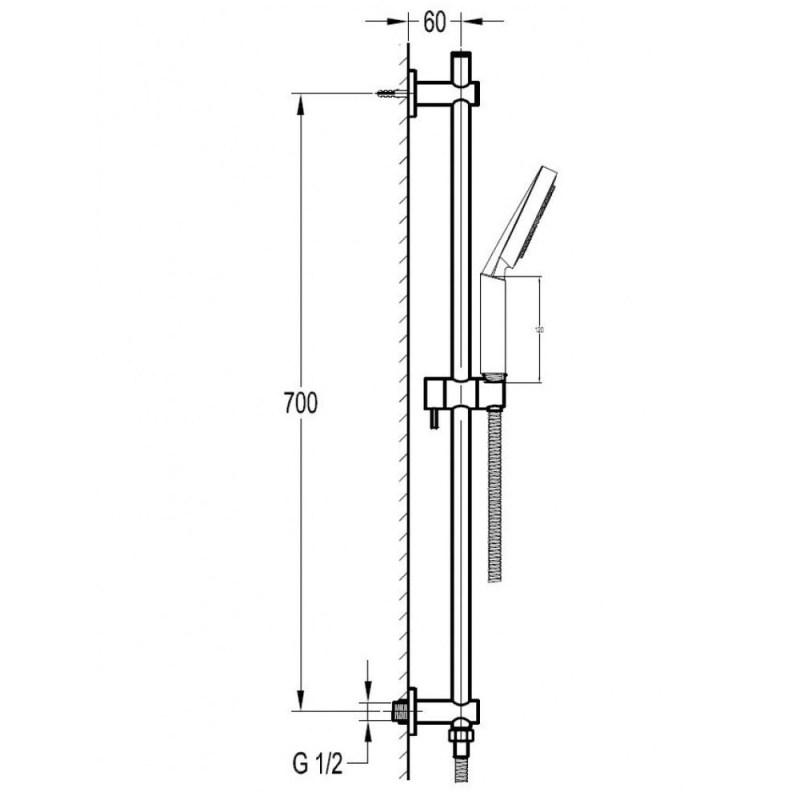 Flova Levo Slide Rail Set with Multifunction Handshower & Wall Outlet