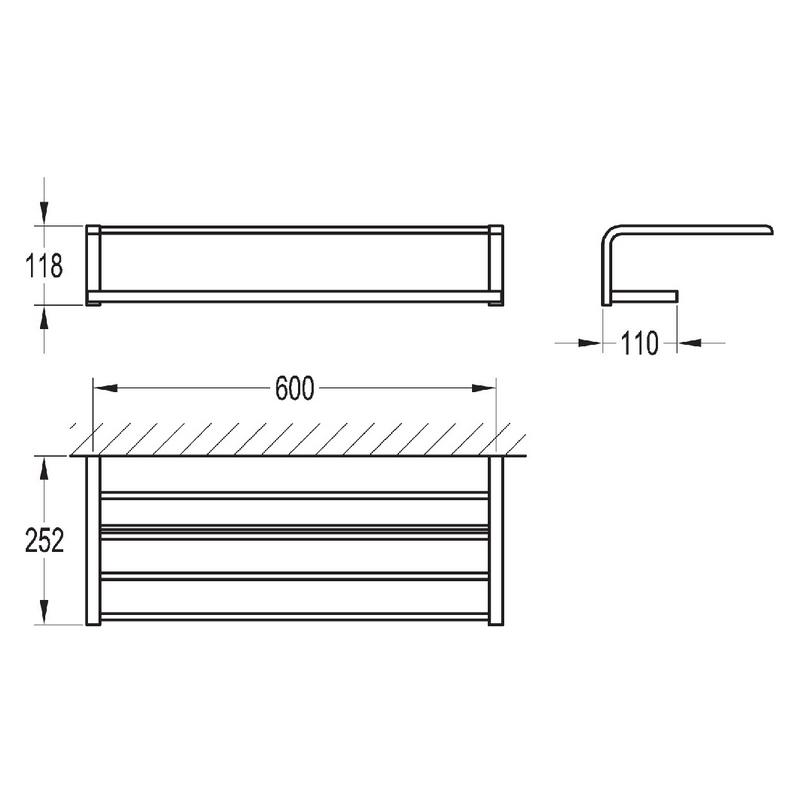 Flova Lynn Quad Bar Tiered Towel Rail 600mm