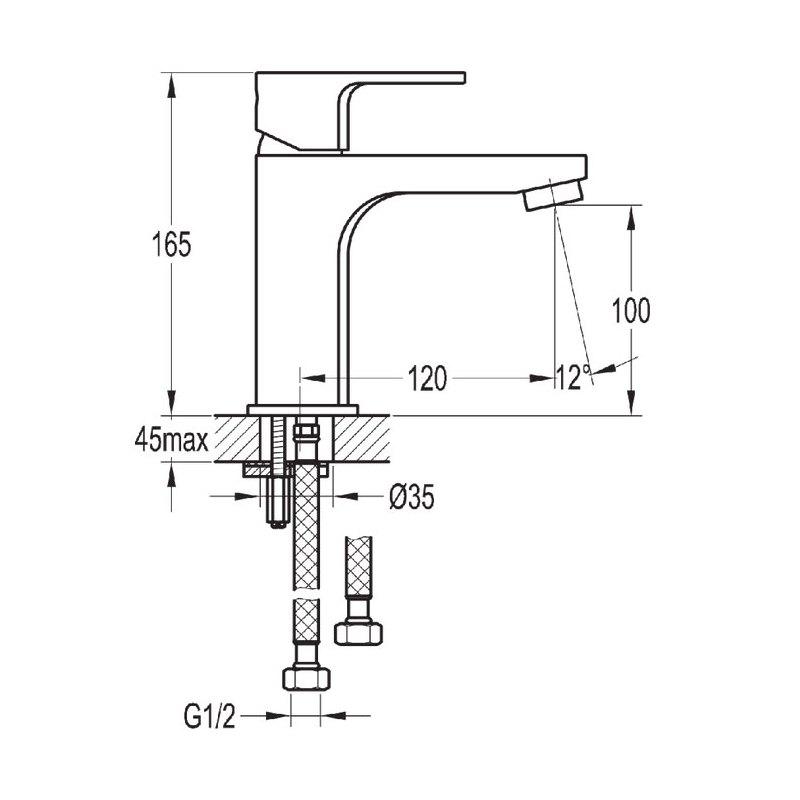 Flova Smart Single Lever Basin Mixer with Clicker Waste