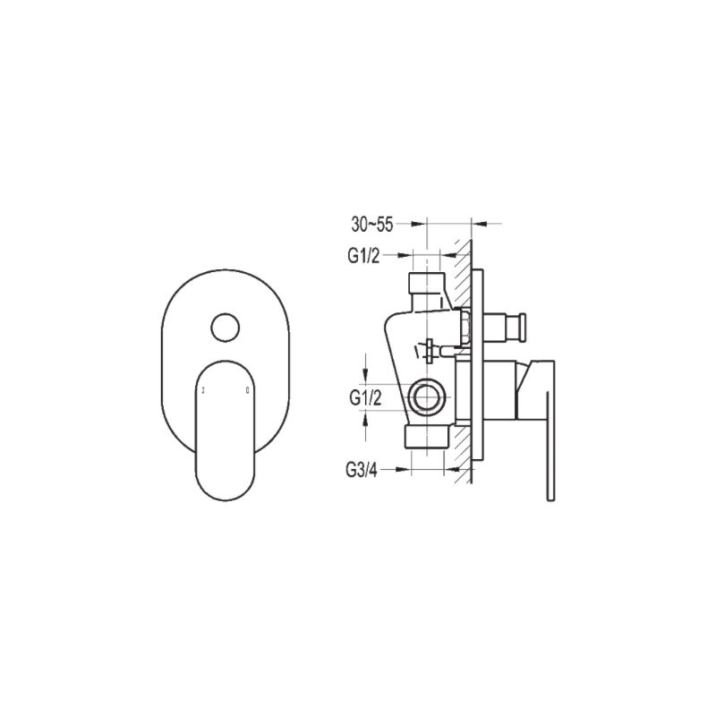 Flova Smart Concealed Manual Mixer 2 Way Diverter with SmartBox
