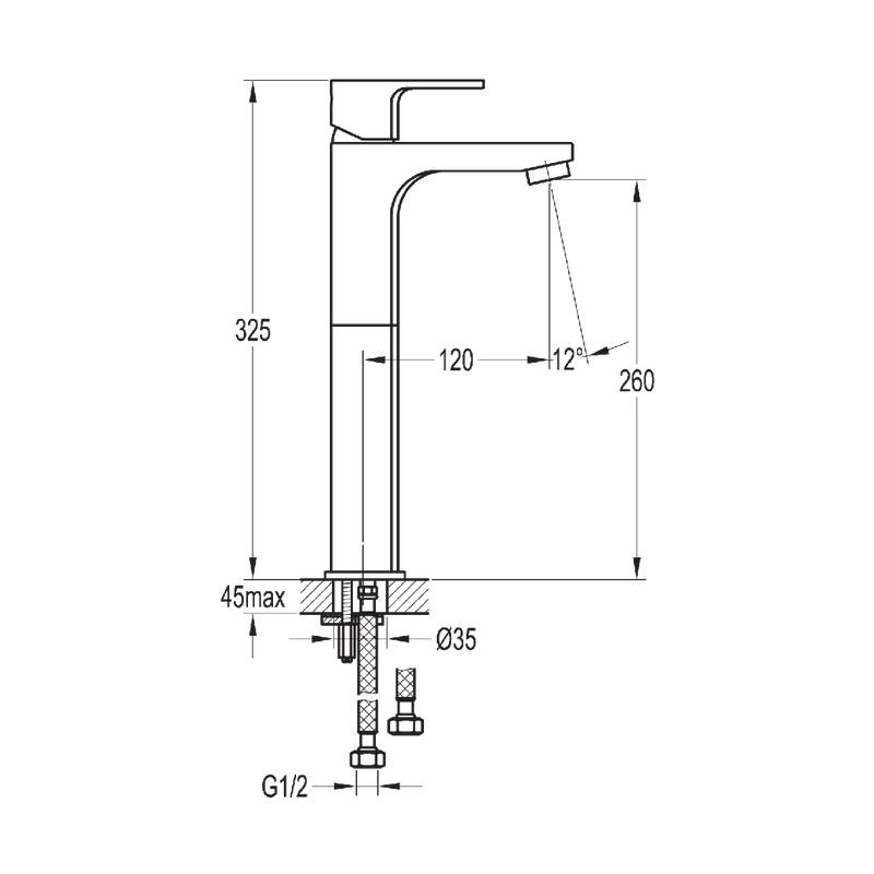 Flova Smart Tall Single Lever Basin Mixer with Clicker Waste