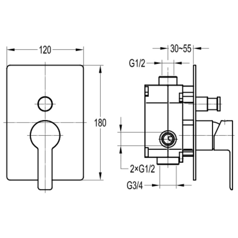 Flova Spring Concealed 2-Outlet Manual Mixer