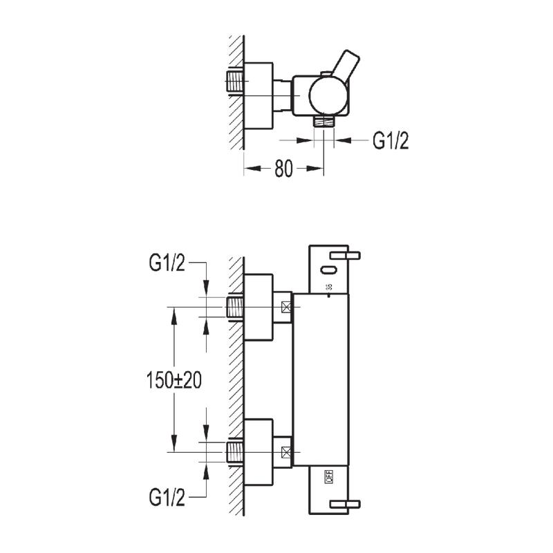 Flova Str8 Exposed Thermostatic Shower Mixer