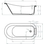 Aquabathe Camden 1500x750mm Slipper Freestanding Bath