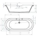 Aquabathe Hebden 1700x750mm Freestanding Bath
