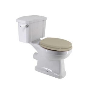 Frontline Holborn Close Coupled Toilet with Crema Wooden Seat
