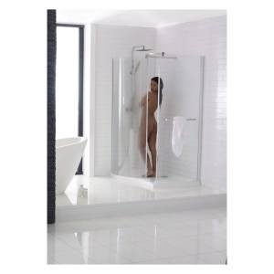 Aquaglass Purity Curved 1350x900mm Dedicated Shower Tray Left
