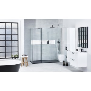 Aquaglass  Black L Shape Walk-In Shower Enclosure 600mm
