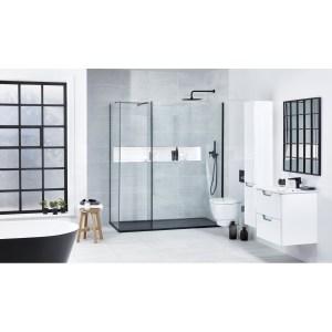 Aquaglass  Black L Shape Walk-In Shower Enclosure 700mm