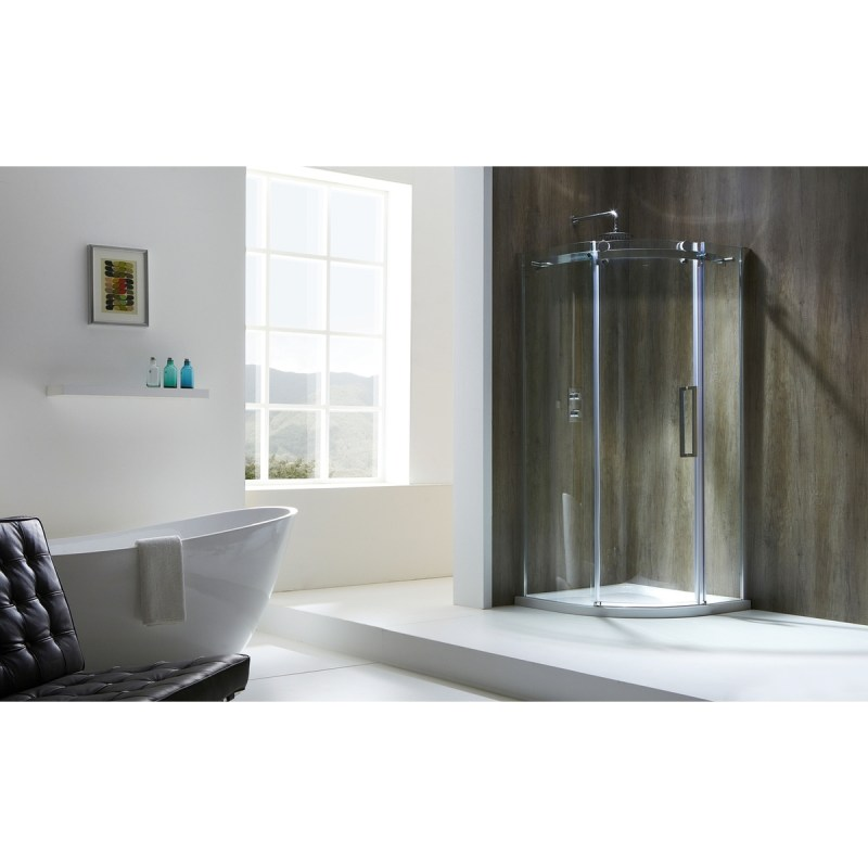 Aquaglass  Frameless 1000x800mm Offset Quadrant LH