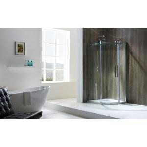 Aquaglass  Frameless 1200x900mm Offset Quadrant RH