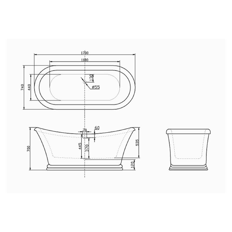 Aquabathe Knightsbridge 1700 x 740mm Luxury Freestanding Bath
