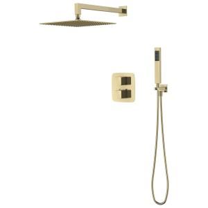 Aquaflow Mineral Square Shower Pack Brushed Brass