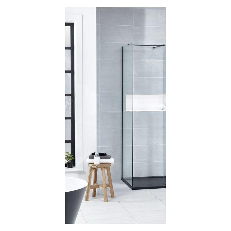 Aquaglass  Black L Shape Walk-In 900mm Side Panel