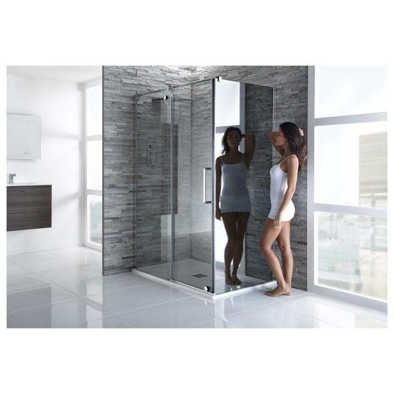 Aquaglass  Glide 800mm Side Panel Mirrored Glass