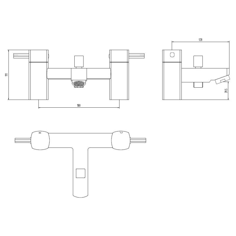 Aquaflow Cubix2 Bath Shower Mixer
