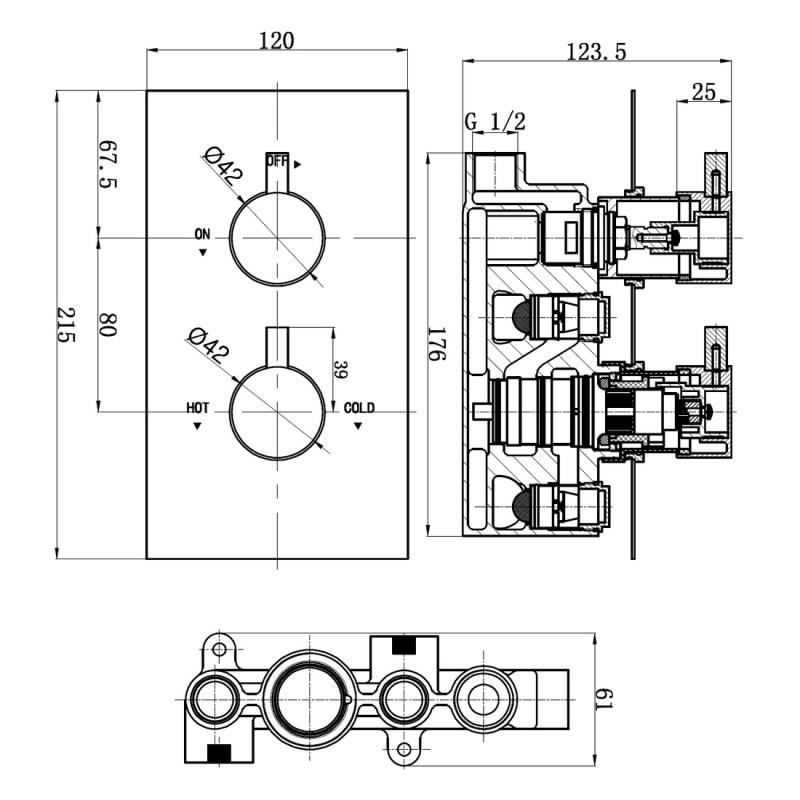 Aquaflow Italia Pure Twin Concealed Thermostatic Shower Valve