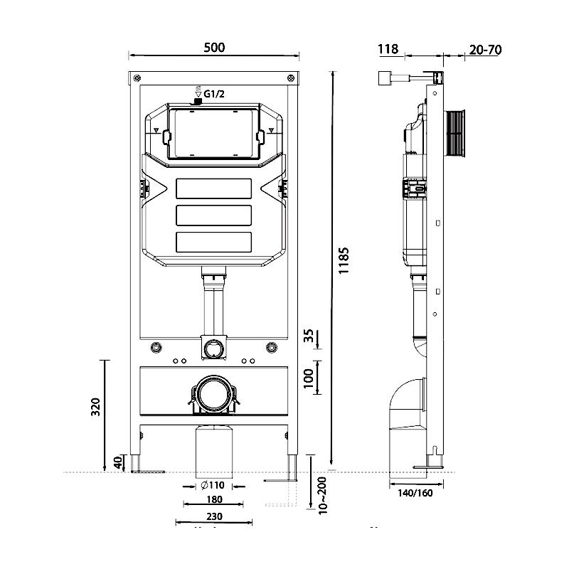 Frontline 1180mm WC Frame including Cistern