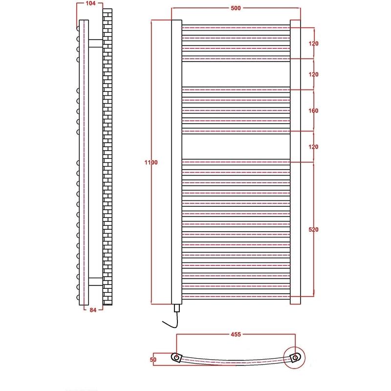 Frontline Ellipse Towel Warmer 1100H x 500W Chrome