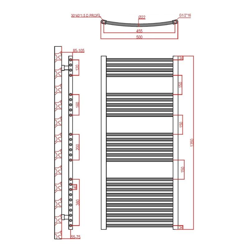 Frontline Curved Towel Rail 500x1350mm Chrome