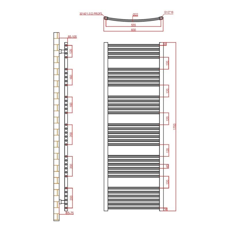 Frontline Curved Towel Rail 600x1700mm Chrome