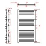 Frontline Flat Towel Rail 600x1100mm Chrome