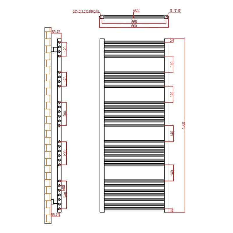 Frontline Flat Towel Rail 600x1500mm Chrome
