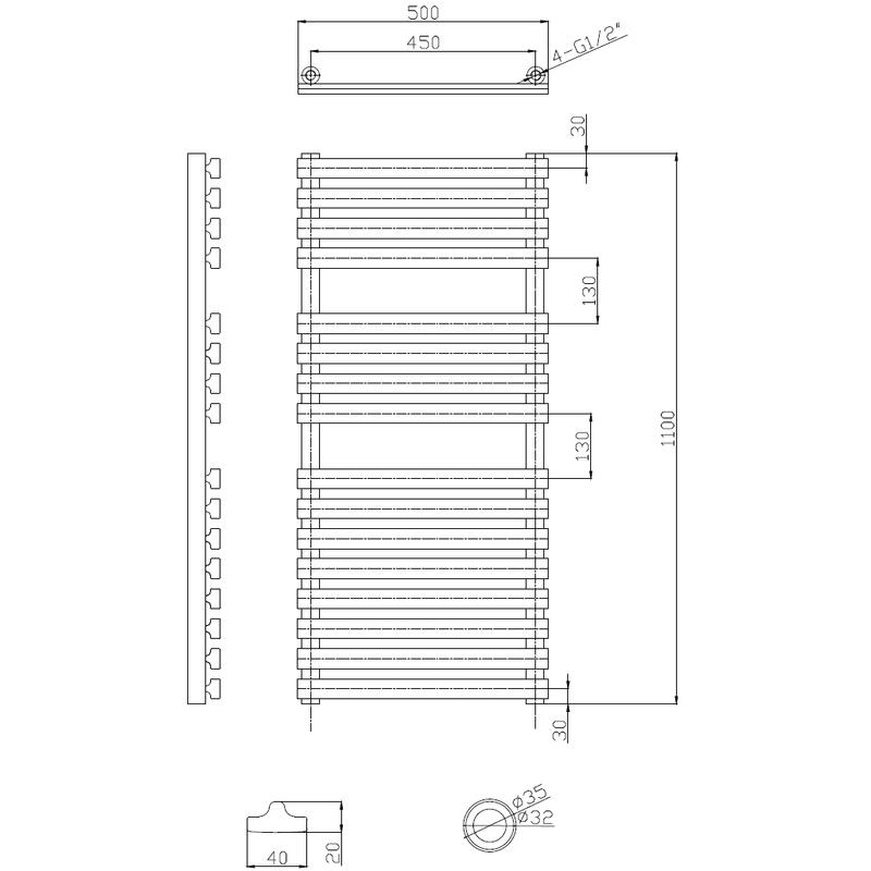 Frontline Karla Designer Radiator Chrome 1100x500mm