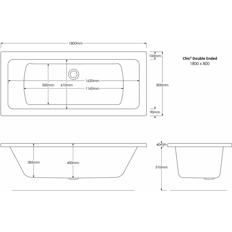 Aquabathe Chic2 1800 x 800mm Double Ended Bath