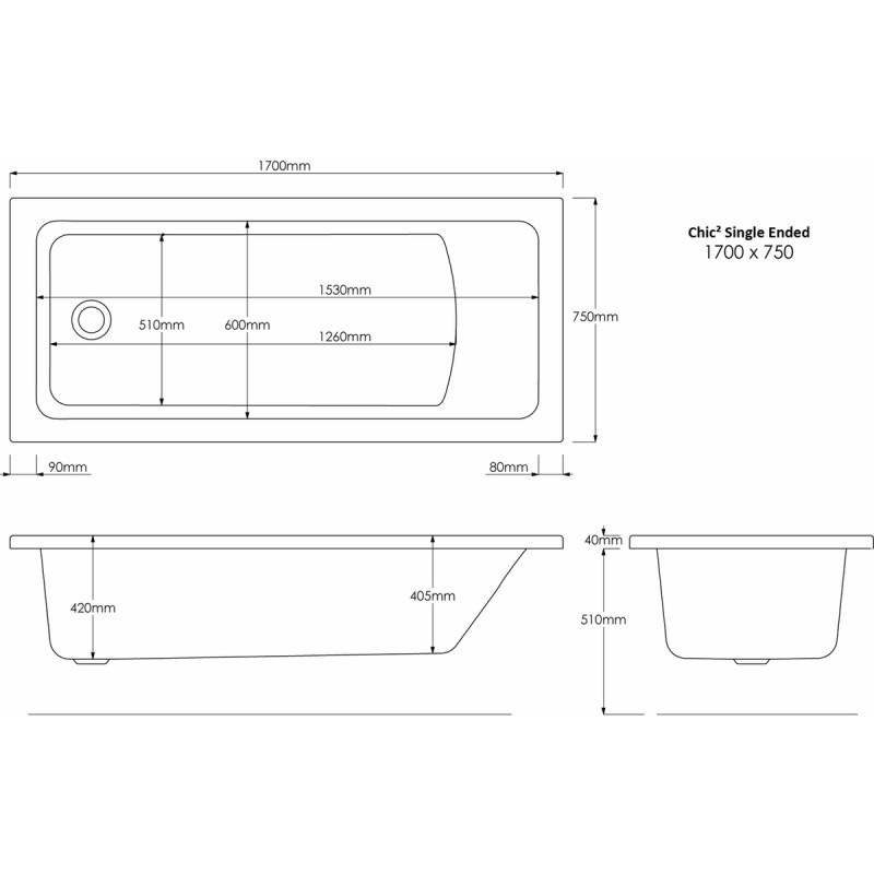 Aquabathe Chic2 1700x750mm Tungstenite Bath