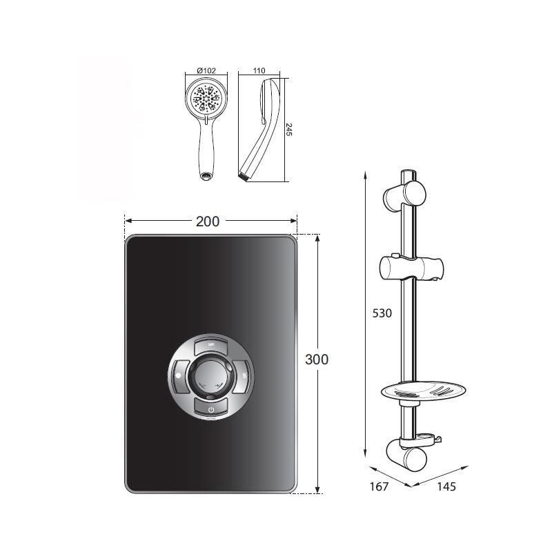 Frontline Aspirante Electric Shower Black Gloss 9.5kW