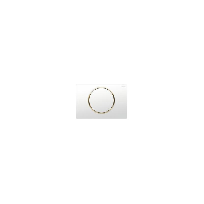 Geberit Flush Plate Sigma10 Single Flush White / Gold-Plated