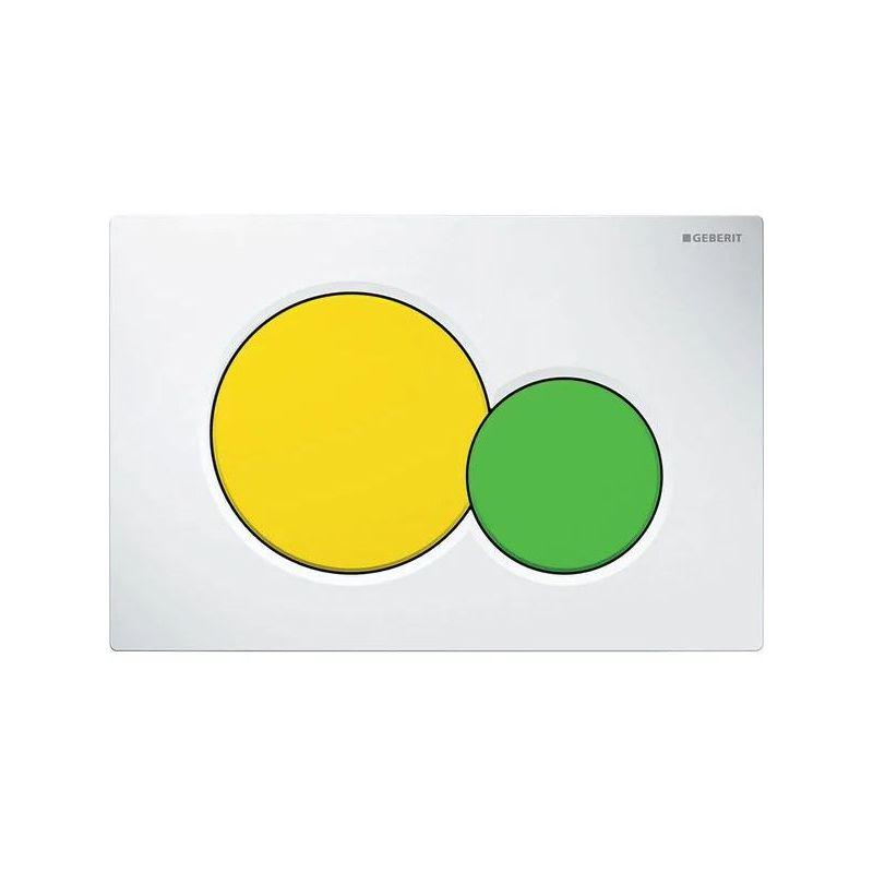 Geberit Sigma01 Flush Plate, Dual Flush, White-Yellow-Green