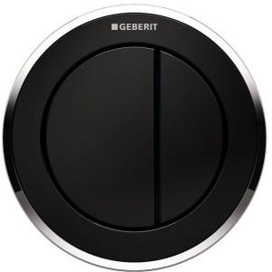 Geberit Dual Flush Button Type 10 12/15cm Black/Gloss Chrome