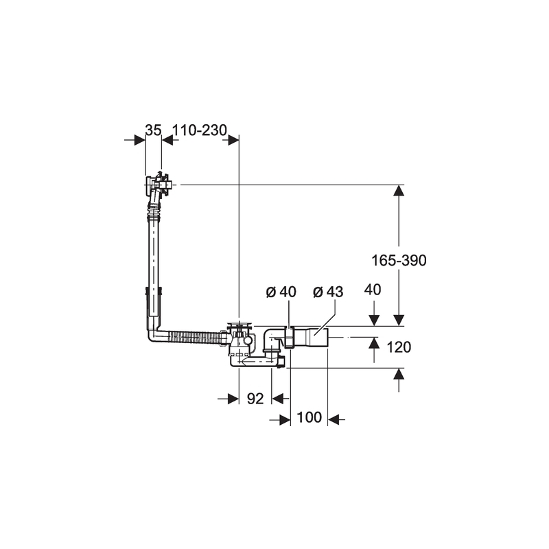 Geberit Bath Drain with Ready-To-Fit Set, PVC Adapter