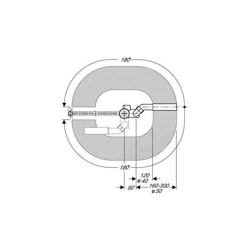 Geberit Bath Drain with Ready-To-Fit Set, PVC Adaptor, Long