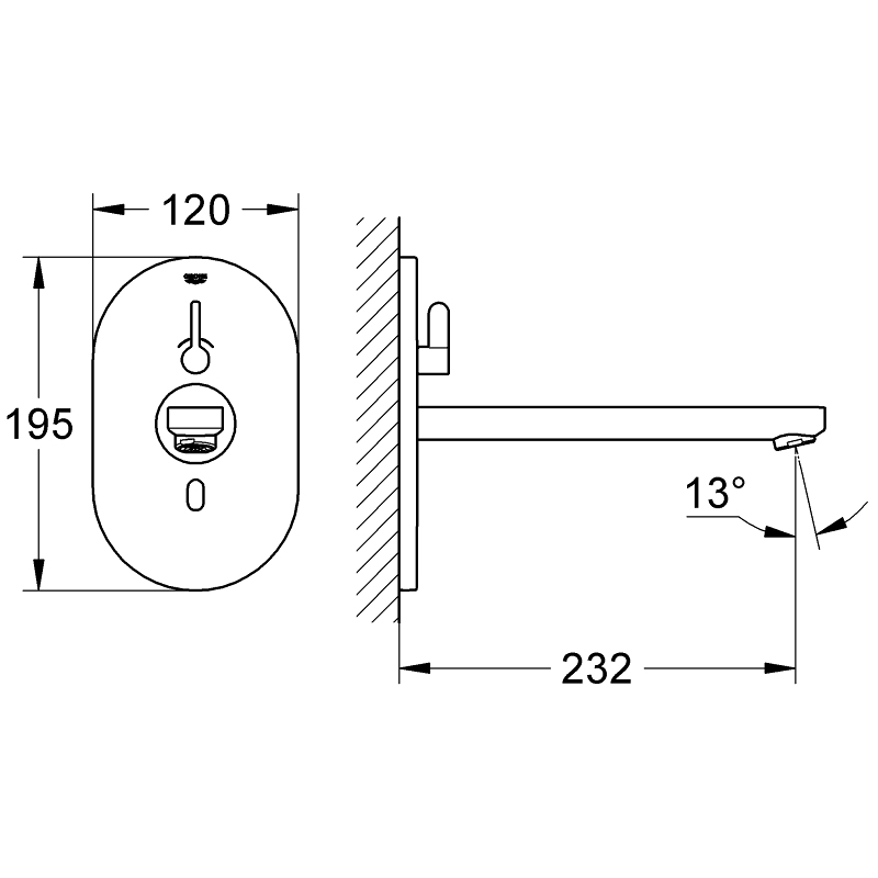 Grohe Eurosmart Cosmopolitan E Infra-Red Basin Tap with Mixing, Mains