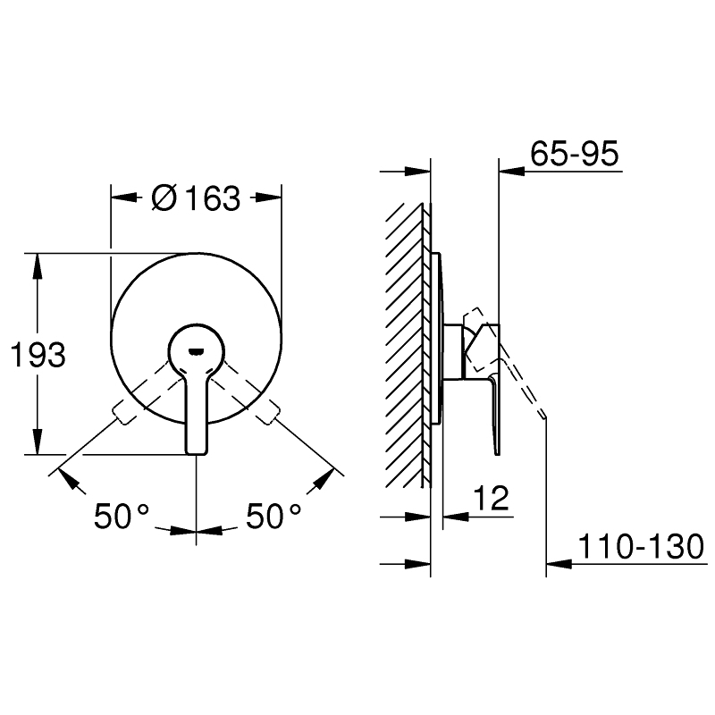 Grohe Lineare Single-Lever Shower Mixer Trim 19296 Supersteel