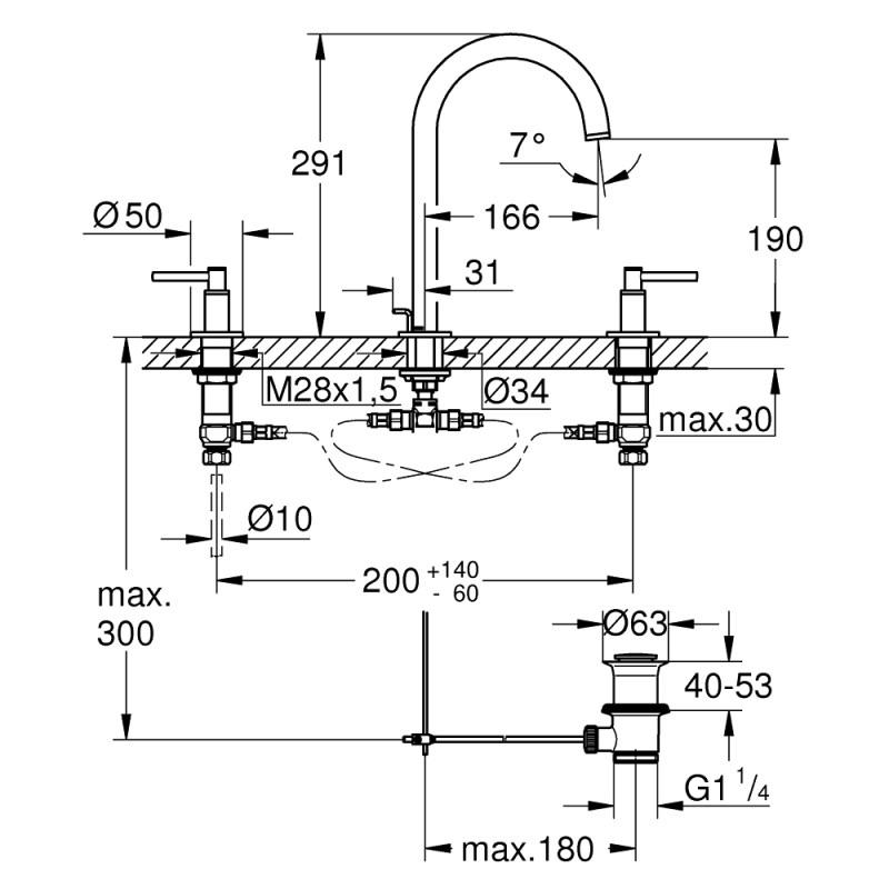 Grohe Atrio 3 Hole Basin Mixer M-Size 20009 Brushed Graphite