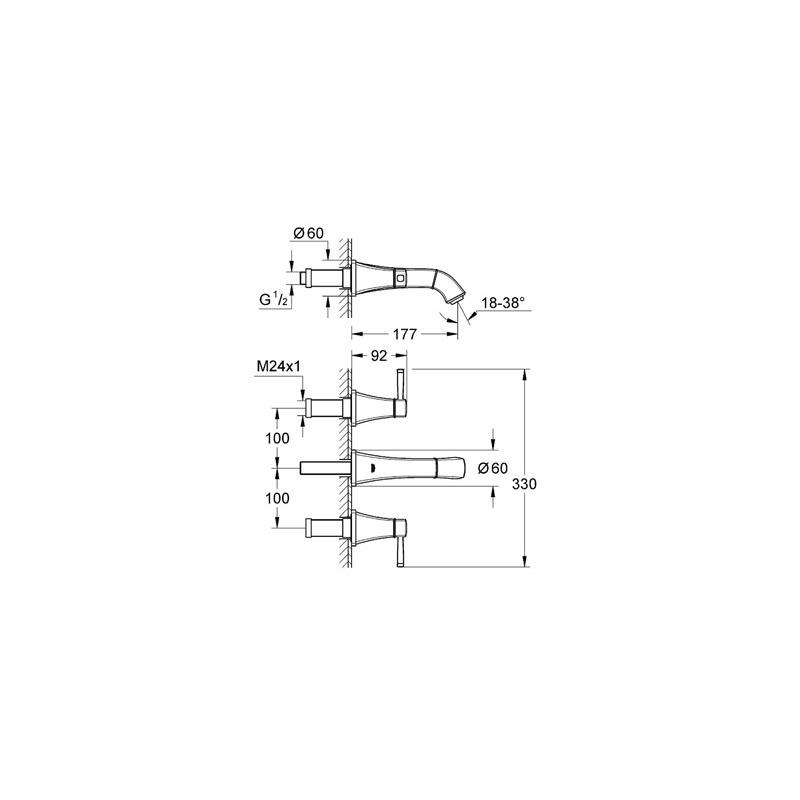 "Grohe Grandera Wall Basin Mixer 1/2"" Small 20414 Chrome/Gold"